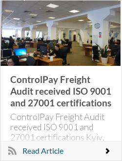ControlPay Freight Audit received ISO 9001 and 27001 certifications