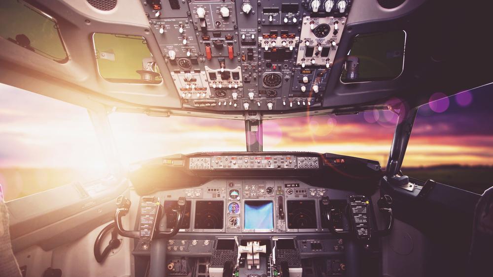 Instruments in airplane cockpit