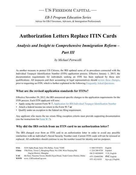 Research Whitepapers Authorization Letters Replace Itin Cards