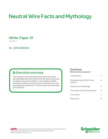 White Papers - WP 21 - Neutral Wire Facts and Mythology