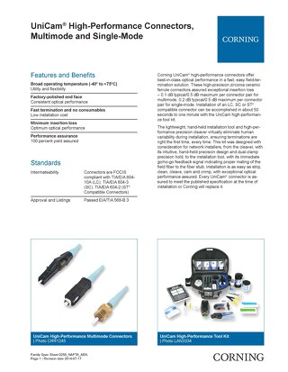 Corning UniCam High Performance Connectors, Multimode and Single Mode NAFTA AEN