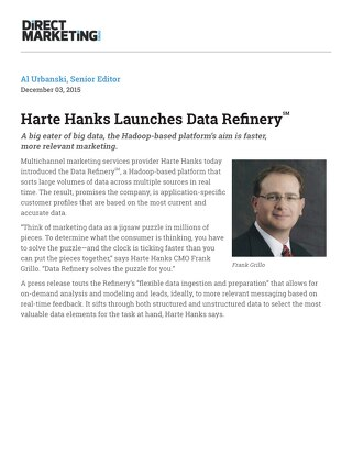 Harte Hanks Launches Data Refinery