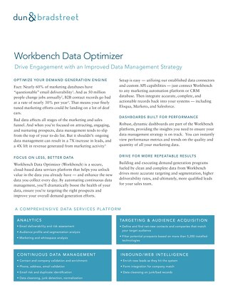 Workbench Data Optimizer: Drive Engagement with an Improved Data Strategy