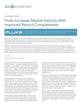 Fluke Increases Market Visibility with Improved Record Completeness