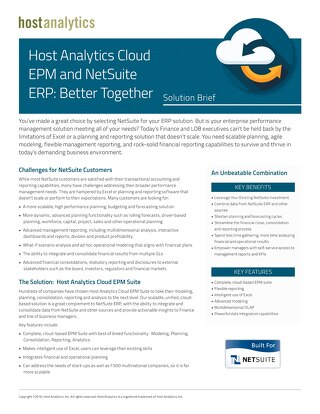 Host Analytics Cloud EPM and NetSuite ERP: Better Together