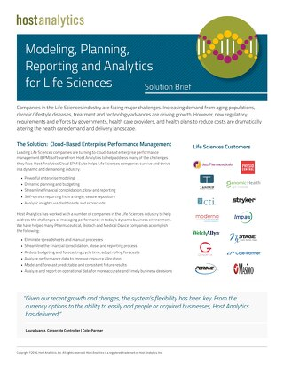 Modeling, Planning, Reporting and Analytics for Life Sciences