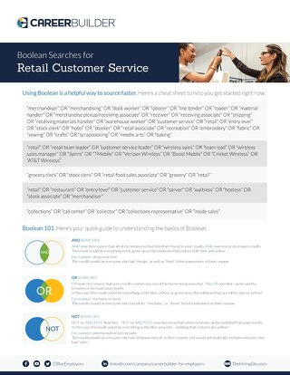 Retail Customer Service Specific Boolean Search Strings