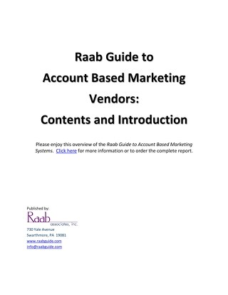 ABM Guide Overview - Raab Associates