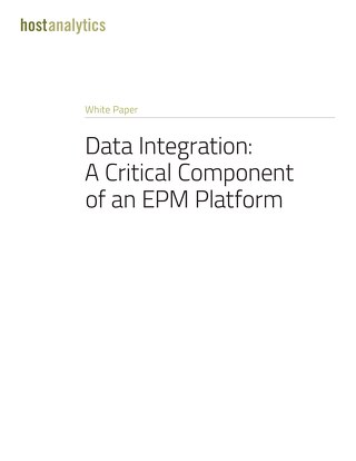Data Integration: A Critical Component of an EPM Platform
