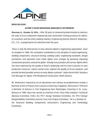 Alpine's Dave Brakeman Announces Retirement