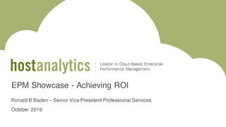 EPM Showcase - Achieving ROI
