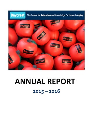 Baycrest Education Annual Report 2015-2016