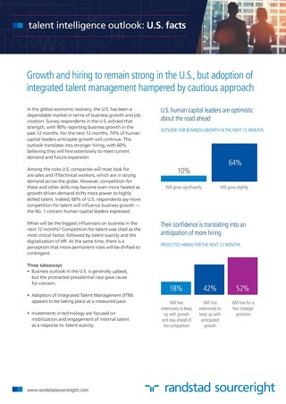 U.S. Fact Sheet - Talent Intelligence Outlook 2016