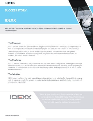 Sovos Success Story: IDEXX