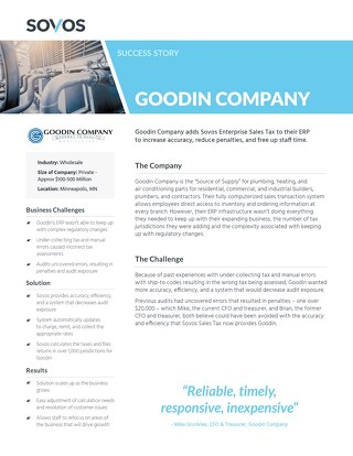 Sovos Success Story Goodin: Company
