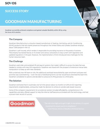 Sovos Success Story Goodman: Manufacturing