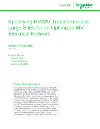 WP 258 - Specifying HV/MV Transformers at Large Sites for an Optimized MV Electrical Network