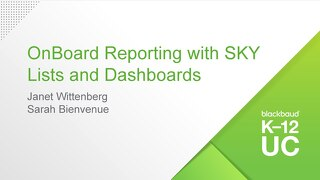 onBoard Reporting with Blackbaud SKY Lists and Dashboards