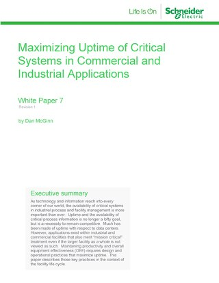 WP 7 - Maximizing Uptime of Critical Systems in Commercial and Industrial Applications