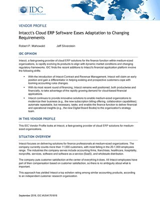 IDC Intacct Cloud ERP Software Research Report