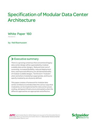 WP 160 - Specification of Modular Data Center Architecture