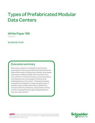 WP 165 - Types of Prefabricated Modular Data Centers