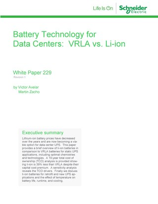 WP 229 - Battery Technology for Data Centers - VRLA vs. Li-ion