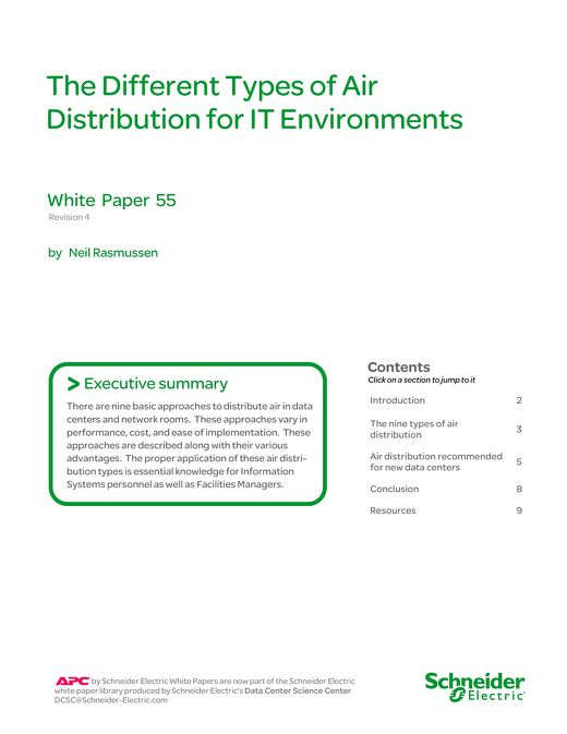 WP 55 - The Different Types of Air Distribution for IT Environments
