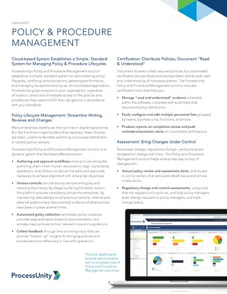 Datasheet: Policy & Procedure Management