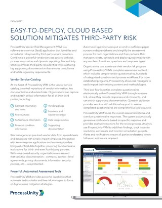 Datasheet: ProcessUnity Vendor Risk Management
