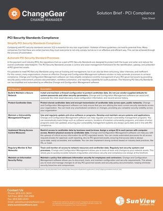 ChangeGear: PCI Compliance Solution Brief