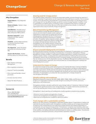 ChangeGear Change and Release Management