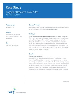 Case Study: Engaging Research Naive Sites