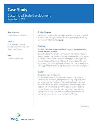 Case Study: Customized Scale Development
