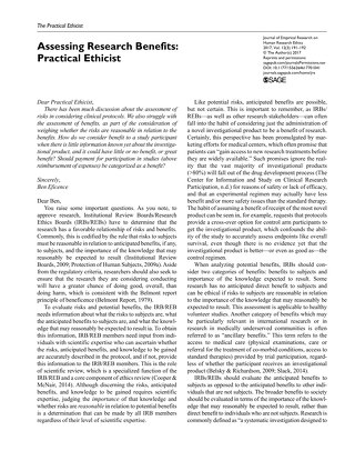 Practical Ethicist: Assessing Research Benefits