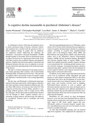 Is cognitive decline measurable in preclinical Alzheimer's disease?