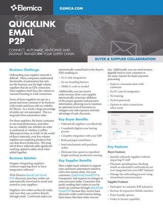 Elemica QuickLink Email P2P Datasheet