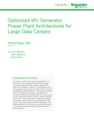 WP 262 - Optimized MV Generator Power Plant Architectures for Large Data Centers