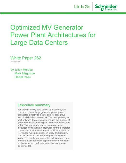WP 262 - Optimized MV Generator Power Plant Architectures for Large Data Centers