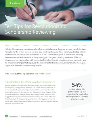 Ten Tips for Revolutionizing Scholarship Reviewing