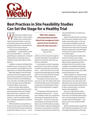 Best Practices in Site Feasibility Studies Can Set the Stage for a Healthy Trial