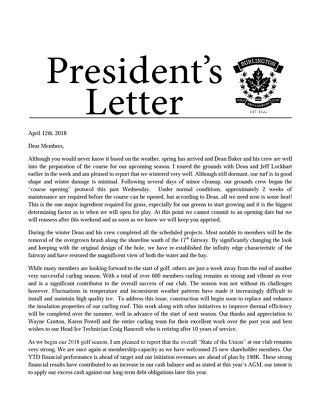 President's Letter - April 2018