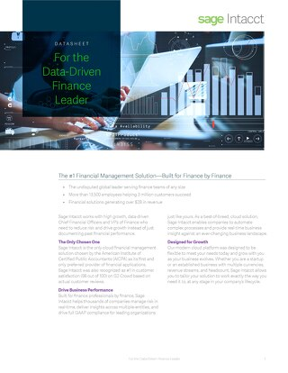 Sage Intacct For the Data Driven Finance Leader