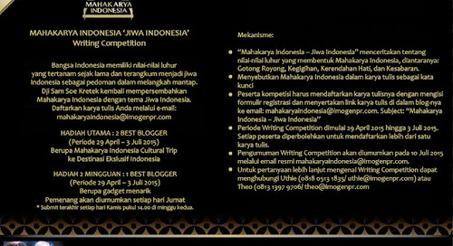 Blogger Writing Competition Mahakarya Indonesia 2015.