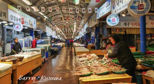 Pasar Ikan Tradisional Dongmun yang bersih & nyaman di Pulau Jeju.