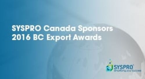 SYSPRO Canada Sponsors 2016 BC Export Awards