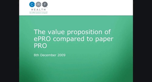 The Value Proposition of ePRO Compared to Paper PRO