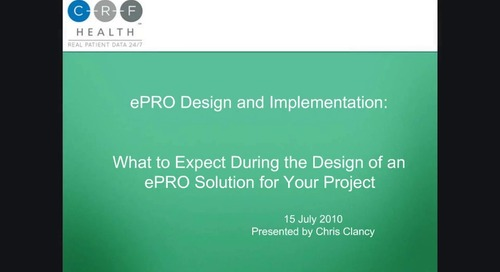 ePRO Design and Implementation: What to Expect During the Design of an ePRO Solution