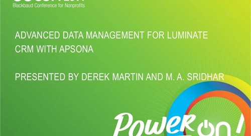 Advanced Data Management for Luminate CRM with Apsona
