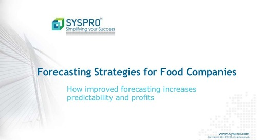 Forecasting strategies for food companies